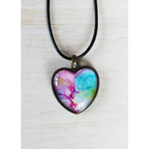 Cabochon nyaklánc szív alakú