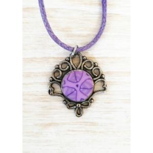 Millefiori lila nyaklánc