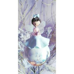 Üveg tündéres fenyőfadísz: M méret