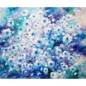 Festmény: Kék virágok (64x54cm)