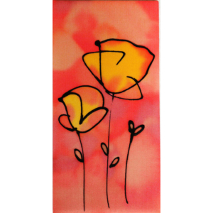 Piros pipacsok selyem festmény