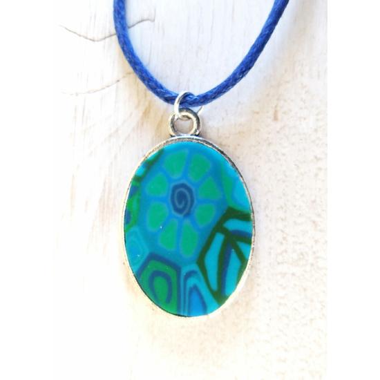 Millefiori kék nyaklánc (ovális)