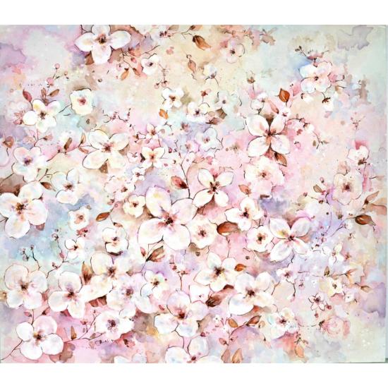 """Cseresznye virágzás"""" Selyem festmény (50x44 cm)"""