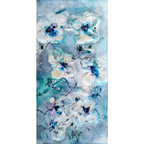 """""""Kék Virágzás"""" selyem festmény"""