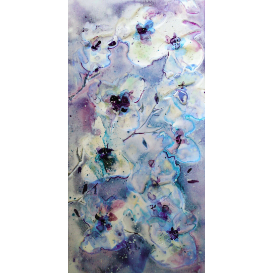 """""""Kék Virágzás 2"""" selyem festmény"""