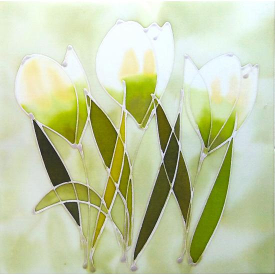 """""""Zöld liliomok"""" selyem festmény"""