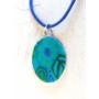Kép 1/3 - Millefiori kék nyaklánc (ovális)