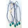 Kép 2/3 - Millefiori kék nyaklánc (ovális)