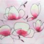 """Kép 1/3 - """"Magnóliavirágok"""" selyem festmény"""